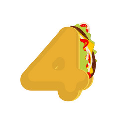 number 4 tacos mexican fast food font four taco vector image vector image