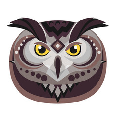 owl head logo decorative emblem vector image