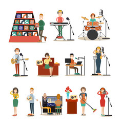radio people flat icon set vector image