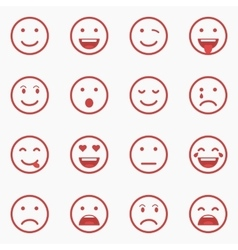 Set of red Emoticons Emoji and Avatar Outline vector image vector image