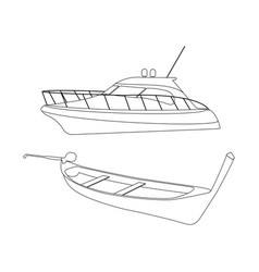speedboat and pirogue icon vector image vector image