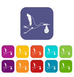 stork carrying icons set flat vector image vector image