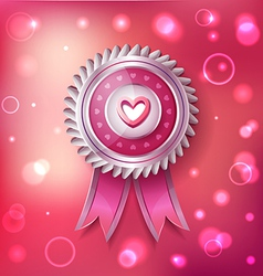 Valentine Day pink label with ribbons vector image vector image