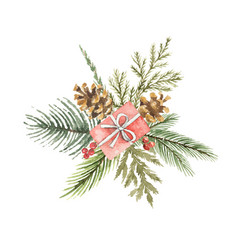 watercolor christmas bouquet with gift vector image