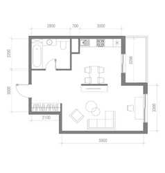 Architectural Floor Plan with Dimensions Studio vector image vector image