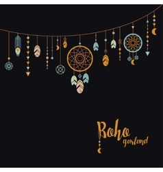Black background with boho garland vector image vector image