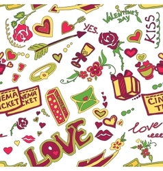 Colored Valentines day doodle pattern vector image vector image