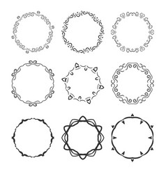 hand drawn circle vignette frames set isolated vector image