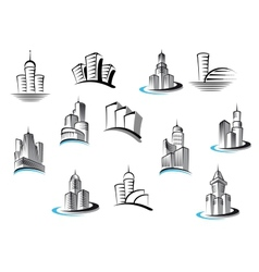 Office telecommunication and residential buildings vector image