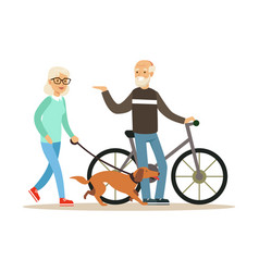 old man standing next to a bike senior woman vector image vector image