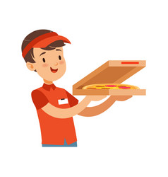pizza delivery boy character with box boy in red vector image