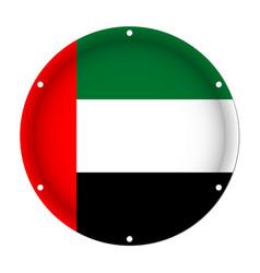 round metallic flag of united arab emirates vector image