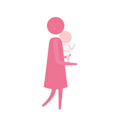color pink silhouette pictogram side view woman vector image vector image