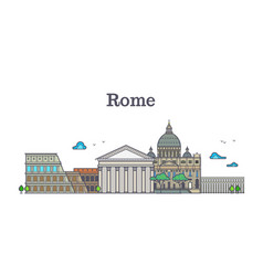 line art rome architecture italy buildings vector image