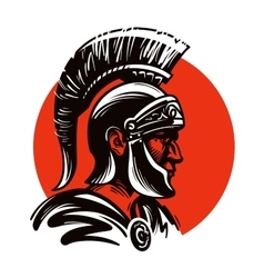 Roman soldier or gladiator inside circle vector