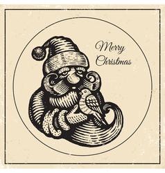 Santa vintage black 2015 vector image