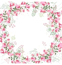 Square frame with contour sweet peas and herbs on vector