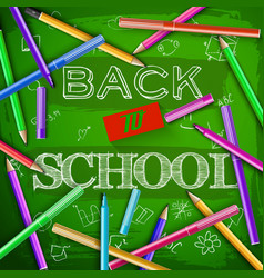 Back to school at green chalkboard vector