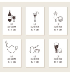 Business cards set with outline hand drawn drinks vector image vector image