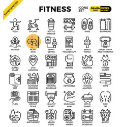 fitness line icon set vector image
