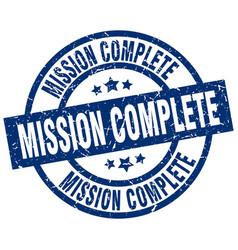 mission complete blue round grunge stamp vector image vector image