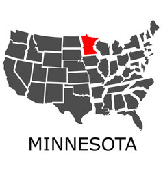 state of minnesota on map of usa vector image