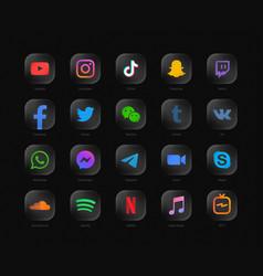 3d popular social media network modern rounded vector