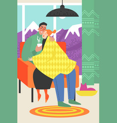 a happy couple sitting in a chair vector image