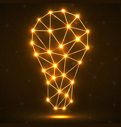 Abstract polygonal lamp with glowing dots and line vector