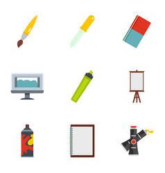 art school icons set flat style vector image