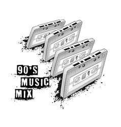 audio cassette symbol of retro music 90s music vector image