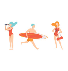beach lifeguards ensuring safety set professional vector image