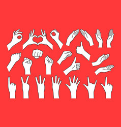 big collection cartoon hand shape like gesture vector image