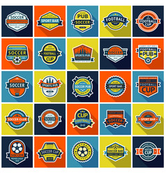 big set soccer pub and soccer cup badges vector image