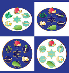 Blue passover plates with food vector