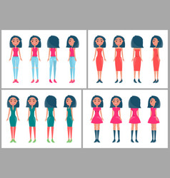 Brunette women stylish outfits from all sides set vector