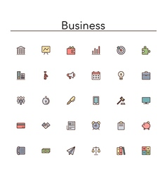 Business colored line icons vector