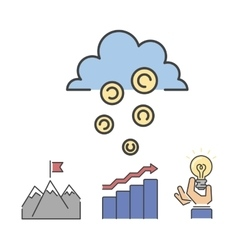 Business success money cloud icons set vector image