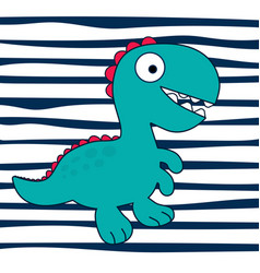 Cartoon dinosaur on striped backround vector