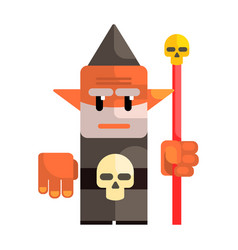 Cartoon dwarf holding a staff with a skull fairy vector