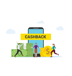 Cashback concept people happy get cashback by vector