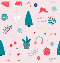 christmas tree winter season collage pattern vector image