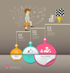 Circles paper step business man infographic vector