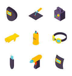 construction project icons set isometric style vector image