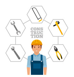 Construction worker with helmet and tools vector