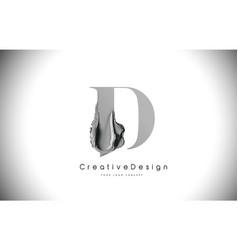 D letter design brush paint stroke black d letter vector