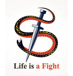 Dagger kills a snake defeated serpent wraps vector