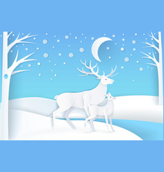 deer and fawn in snowy forest at night vector image