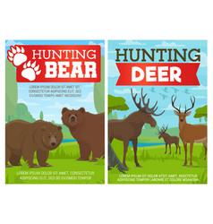 deer elk and grizzly bear animals hunting sport vector image