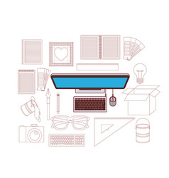 device desktop computer in color with silhouette vector image